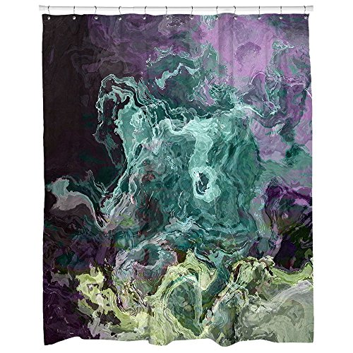 Abstract art bathroom decor, turquoise, aqua, purple and green shower curtain, Mood