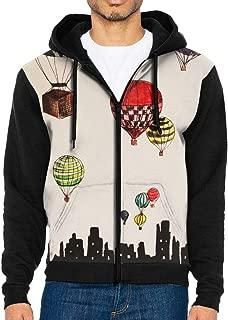 Men's Pullover Hood Hot Air Balloons Zip Hoodies Hooded Classic Jackets Coats