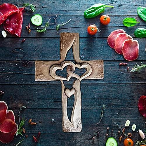 Geschenken Houten Muur Cross Plaque,20141cm Opknoping met Hand Gesneden Bloemen Ontwerp Religieus Altaar Thuis Woonkamer Decor Lichtgewicht, Verweven Harten Acryl Liefde Kruis Decor