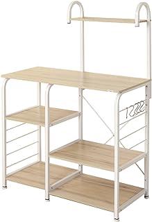SogesHome 4-Tier Kitchen Baker's Rack Utility Microwave Oven Stand Storage Cart Workstation Shelf,White Oak 172-MO-SH
