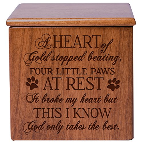 Cremation Urns for Pets SMALL Memorial Keepsake box for Dogs and Cats, Urn for pet ashes A heart of gold stopped beating four little paws at rest Holds SMALL portion of ashes (Cherry)