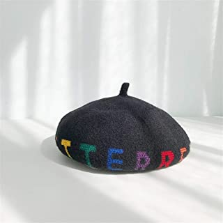 SHENTIANWEI Female Winter hat Letters Beret Autumn and Winter Korean Female British Wild Japanese Painter hat Knitted hat Pumpkin (Color : Black, Size : One Size)
