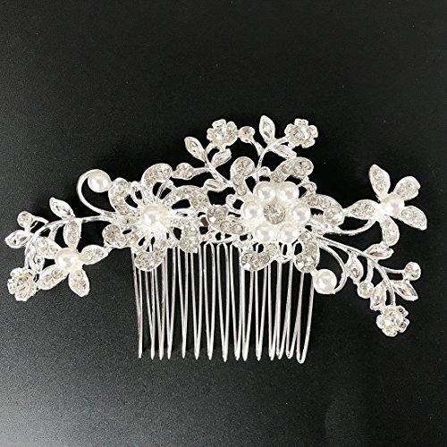 Txian, fermaglio a pettine per capelli da matrimonio da sposa con fiore di cristallo e perline