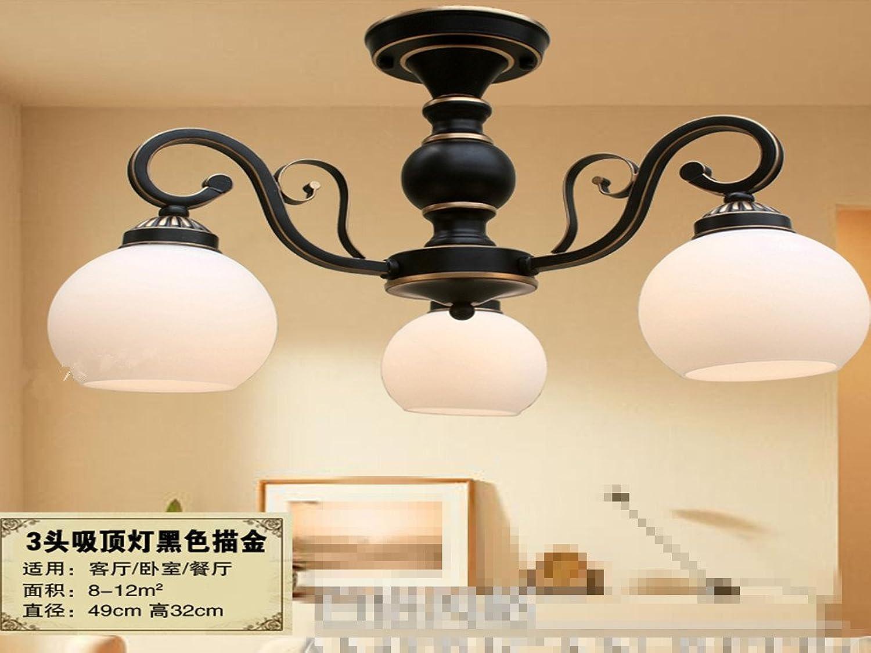 E27 suspension lustre Salon Salle à hommeger en fer forgé rétro simple moderne salle à hommeger chambre lumière pendentife, 3 or noir