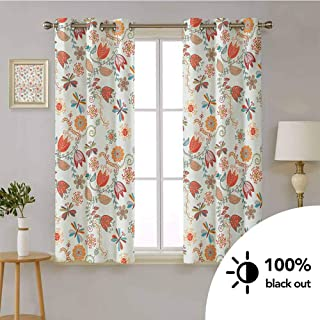 HouseLook Dragonfly -Thermal Insulated Blackout Curtains Cute Tulip Floral Blossom Ornate Pattern with Butterflies Artsy Illustration -Window Curtain Set for Living Room W55 x L72 Inch Multicolor
