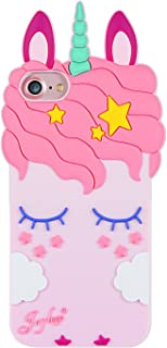 """Joyleop Pink Unicorn Case for iPhone 8 7 6 6S 6G 4.7"""",Cartoon Soft Silicone Cute 3D Cool Fun Cover,Kawaii Unique Kids Girls Cases,Fashion Animal Character Shockproof Rubber Protector for iPhone 8/7/6"""