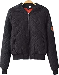 Womens Quilted Bomber Jacket Loose Stand Collar Long Sleeve Zip Up Overcoats Jackets Coats Tops