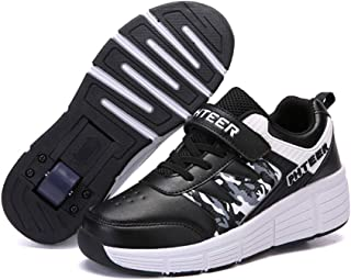 Skating Shoes Invisible Automatic Pulley, Kids Roller Shoes Single/Double Wheels, Retractable Skateboarding Unisex Kids Fitness Shoes Youth/Girl Outdoor Sports Cross