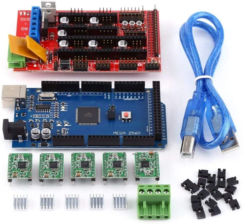RAMPAS Kit, RAMPAS impresora Controlador Módulo 3D rampas 1.4 Controller + R3 + Mega2560 A4988 Con disipador de calor Kit USB