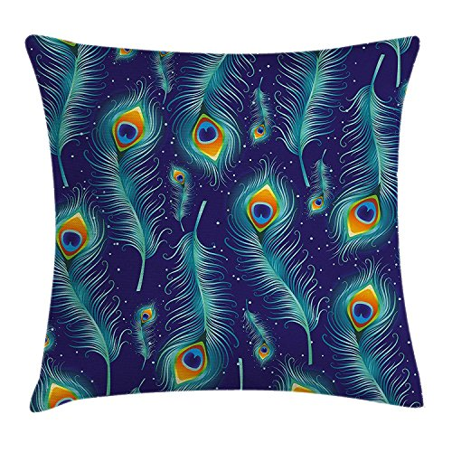 FAFANI Peacock Decor Throw Pillow Cushion Cover, Graphic Peacock Bird Feathers Artistic Background Design Image, Decorative Square Accent Pillow Case, 18 X 18 inches, Navy Blue Aqua and Orange