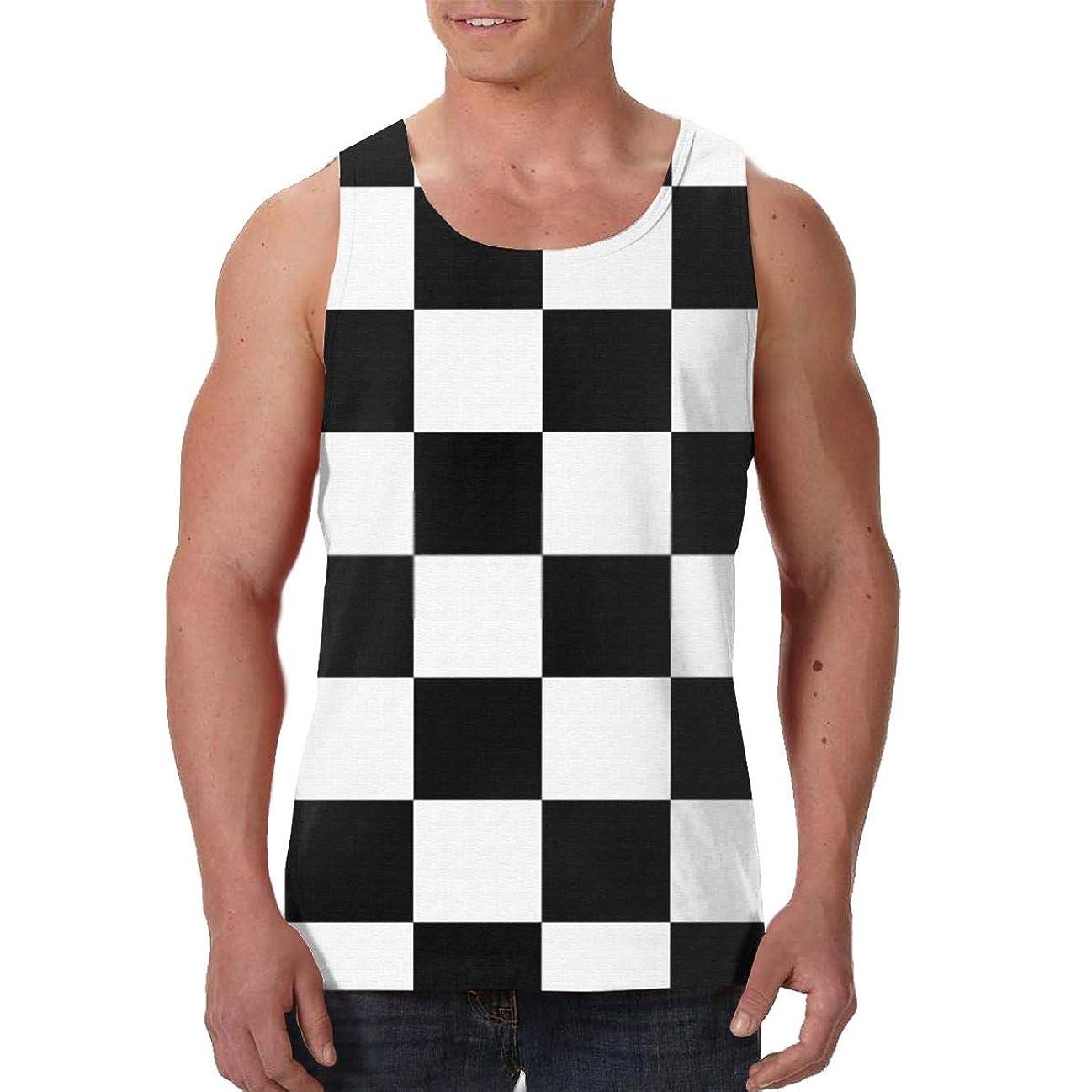 インキュバス白内障フックタンクトップ チェスのシームレスなパターン背景を落書き ノースリーブ フィットネス スポーツ トレーニング 筋トレ メンズ