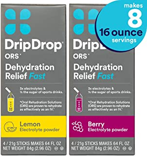 DripDrop Ors - Patented Electrolyte Powder for Dehydration Relief fast - For Heat Exhaustion, Hangover, Illness, Sweating & Travel Recovery, Lemon & Berry Flavor 2 Pack, Makes (8) 16oz Servings