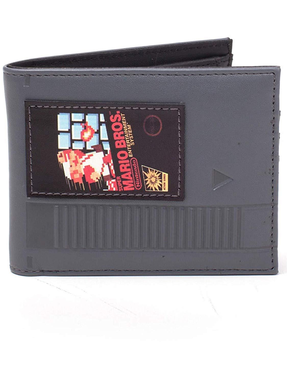 Nintendo Super Mario Bros. Cartridge Bi-Fold Wallet, Black (Mw568575Ntn) Coin Pouch, 16 cm, Grey