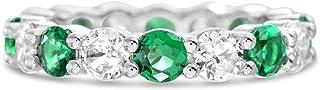 مستوحاة من أنتم. خاتم زفاف بعرض 4 مم من الفضة الاسترليني مكعب زركونيا اتيرنتي للنساء