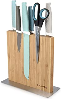 Navaris Bloc à Couteaux magnétique - Bloc aimanté Double Face en Bambou - Range Couteau de Cuisine Vide - Support Vertical...