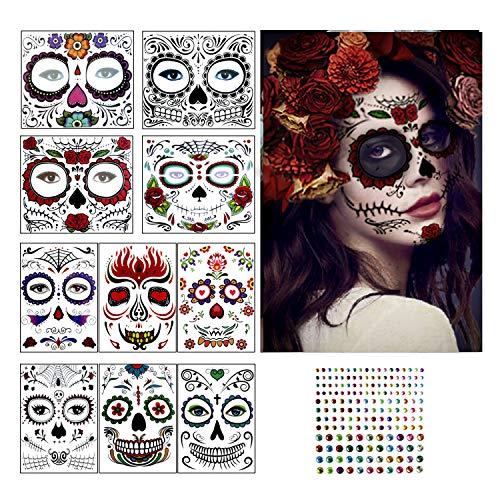 Herefun Tatouages éphémères, 10Tatouages Temporaires de Visage d'halloween + 1Autocollant de Gemme, Halloween Mascarade Maquillage Visage Tatouages Autocollants de Crâne Clown Homme Femme Enfants