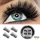 Piccul Magnetic False Eyelashes, 3D Black Dual Magnetic, Ultra Thick Ultra Solf And Long for Entire Eyes, Glamorous, Natural Look, Handmade Reusable Eyelashes (Black) 1 Pair/4Pcs