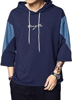 JinNiu パーカー メンズ tシャツ 五分袖 春夏着服 大きいサイズ おしゃれ 半袖 トップス 通勤 通学 プルオーバー シンプル かっこいい