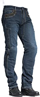 MAXLER JEAN Biker Jeans for men - Slim Straight Fit Motorcycle Riding Pants, 002 Blue (Size 32)