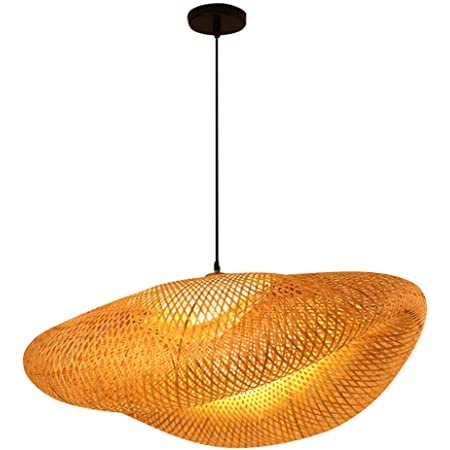 Uonlytech Rustique Bambou Lanterne Suspension Lampe Vintage Japonais Lustre Suspendu Plafonnier Luminaire pour Salon Chambre Restaurant Café Bar Salle à Manger