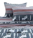 Tribeca Living WIRE170SHEETKI Winter Reindeer Flannel Deep Pocket Sheet Set, King