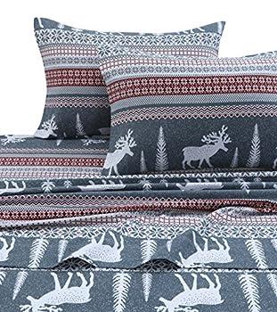 Tribeca Living WIRE170SHEETCK Winter Reindeer Flannel Deep Pocket Sheet Set Cal King