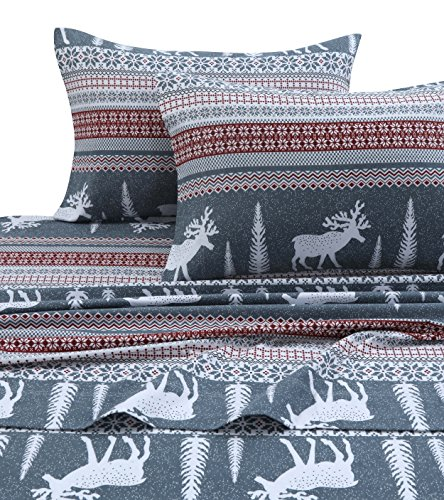 Tribeca Living WIRE170SHEETKI Winter Reindeer Flannel Deep Pocket Sheet Set, King