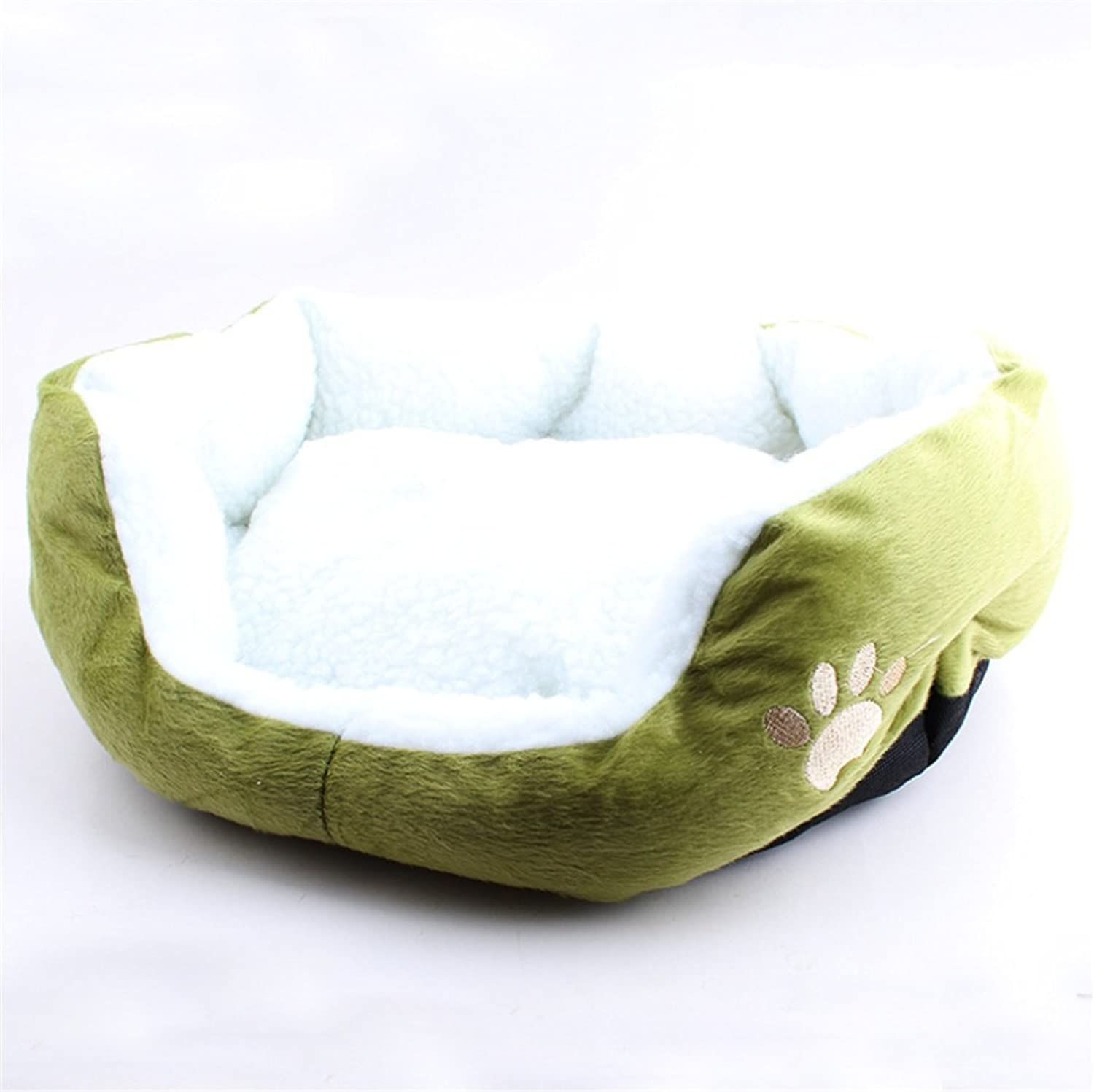 CHWWO Lamb Cashmere Kennel Small Dog Pet Supplies Soft and Comfortable Deep Sleeping Ideal Bed 50  40  12cm, Green
