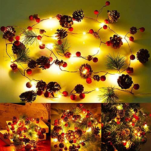 Guirnaldas Navidad Artificial BESTZY Guirnalda Puerta Flores 190cm Chimenea Puerta Pared Verde Corona Decoración Navideña Christmas Decoration