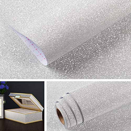 Livelynine Glitter Wallpaper Stick and Peel Decorative Wallpaper for Dresser Counters Tabletop Desk Crafts Walls Self Adhesive Silver Wall Decor Vinyl Removable Waterproof Glitter Vinyl 15.8x78.8 Inch