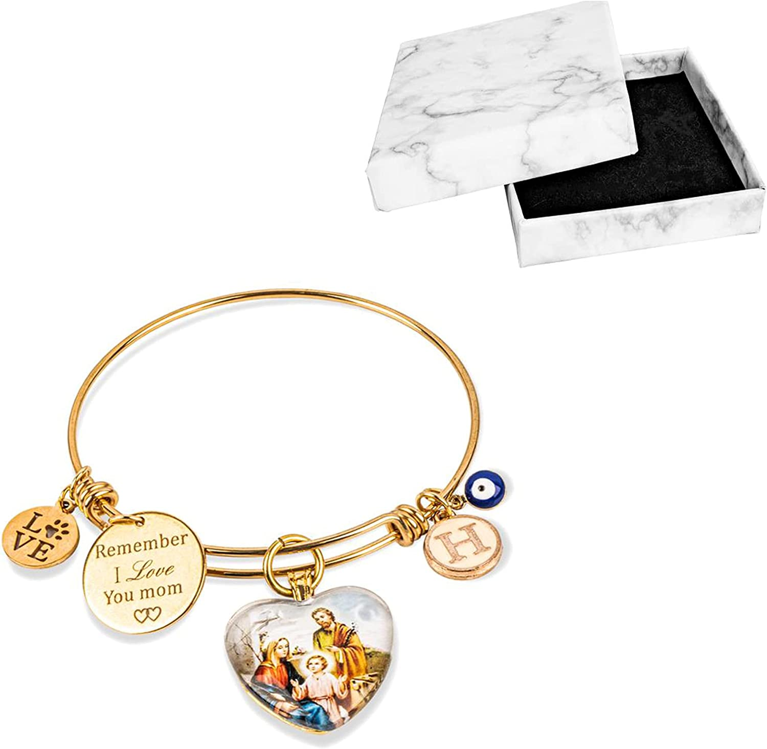 CSZhou-Expandable Wire Bangle Bracelets for Women and Mom, Evil Eye Bracelet, Mother's Day Gifts, Jewelry Mom Gifts with Initial A-Z Letter Bonded by Love Charms, Catholic Virgin, and Love Paw Prints, 2