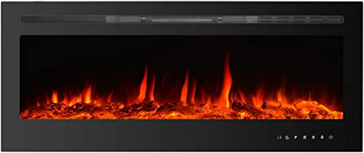 """Kullavik 50"""" Recessed Electric Fireplace, with Remote Control & Timer,Touch Screen, Log & Crystal,Energy Saving Indoor Wal..."""