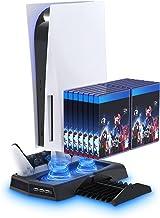 Suporte vertical com ventoinha de resfriamento para console PS5 e PlayStation 5 Digital Edition, base de carregamento YUAN...