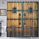 Rustic Shower Curtain Old Wooden Barn Garage Door Vintage Farmhouse Gate Decor Brown Fabric Bathroom Curtains Polyester with Hooks 72X72 Inches YLYYTE211