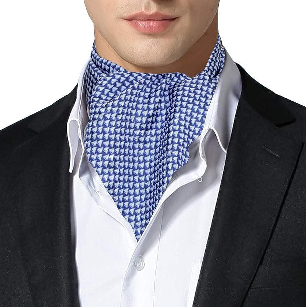Remo Sartori Made in Italy Men's Blue Boats Cravat Ascot Day Tie, Silk