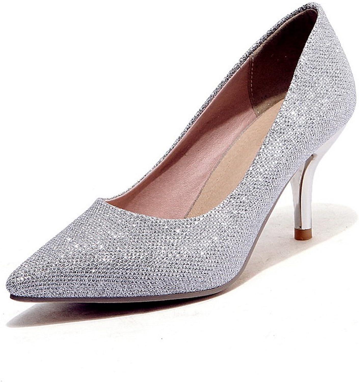 BalaMasa Girls Pointed-Toe Glitter Pearl Fabric Pumps-shoes