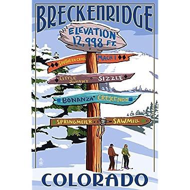 Breckenridge, Colorado - Ski Run Signpost (9x12 Art Print, Wall Decor Travel Poster)