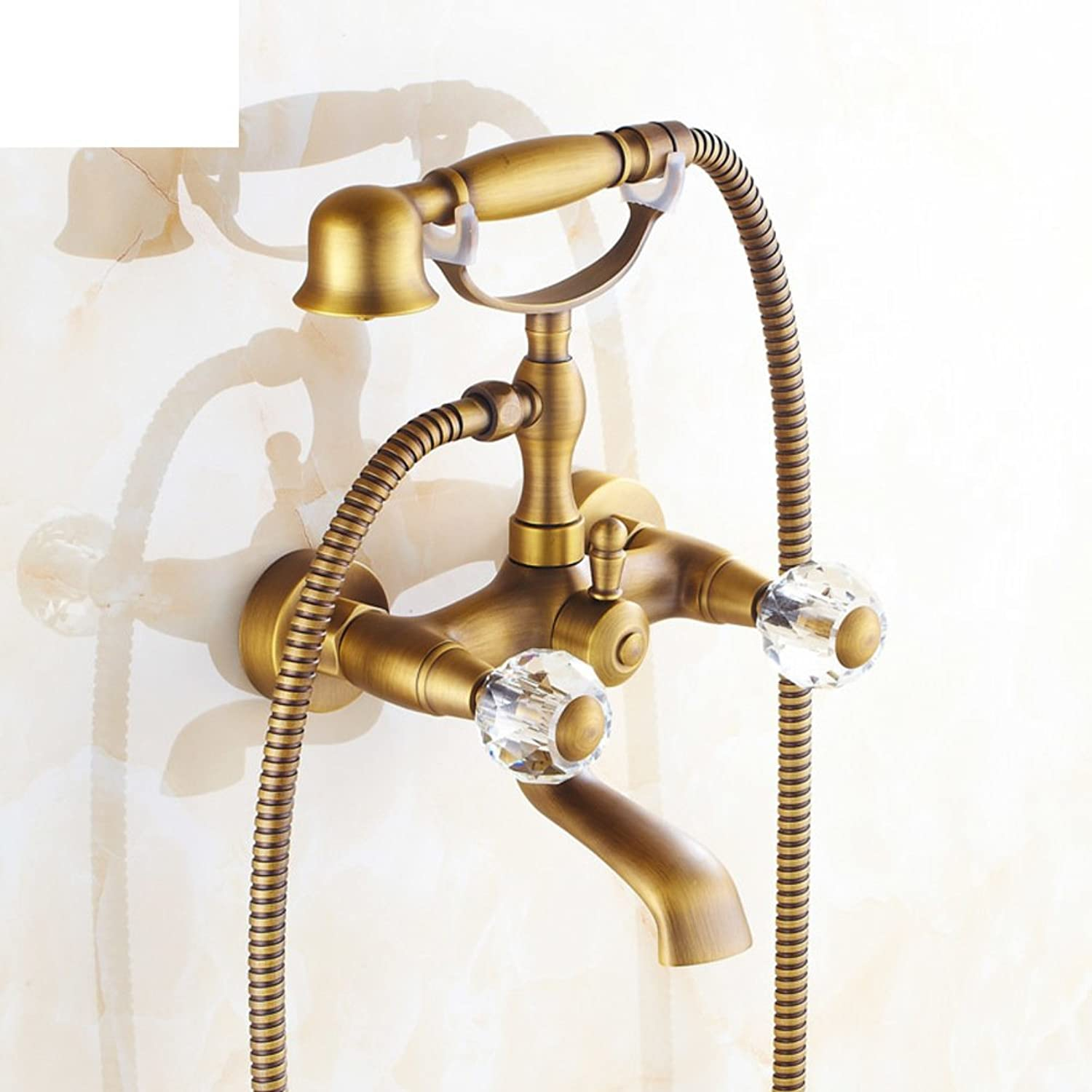 Copper Antique Bathtub Faucet European-Style Shower Kit Simple Shower Set Bathroom-A