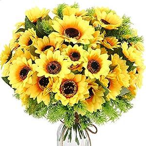 TELDRASSIL 7-Bunches Artificial Sunflower Bouquet Fake Daisies Flowers Faux Silk Flowers for Table Centerpieces Arrangements Wedding Party Window Home Garden Decoration