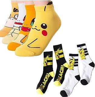 6 Pares De Calcetines Kawaii Girl Harajuku Pokemon Pikachu Calcetines Divertidos Impresos En 3D De Dibujos Animados Para Mujer, Calcetines Bajos, Novedad, Calcetines Casuales