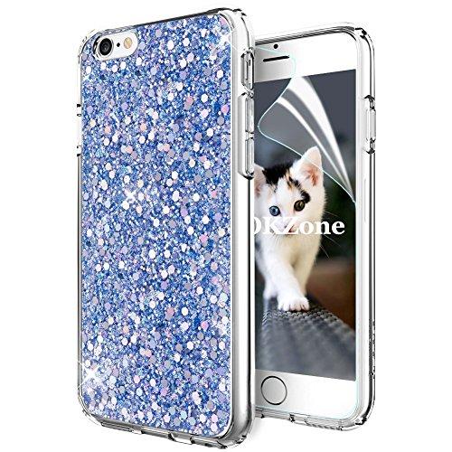 """OKZone Funda iPhone 6S,Funda iPhone 6, Cárcasa Brilla Glitter Brillante TPU Silicona Teléfono Smartphone Case [Protección a Pantalla y Cámara] para Apple iPhone 6/iPhone 6S 4,7"""" (Azul)"""