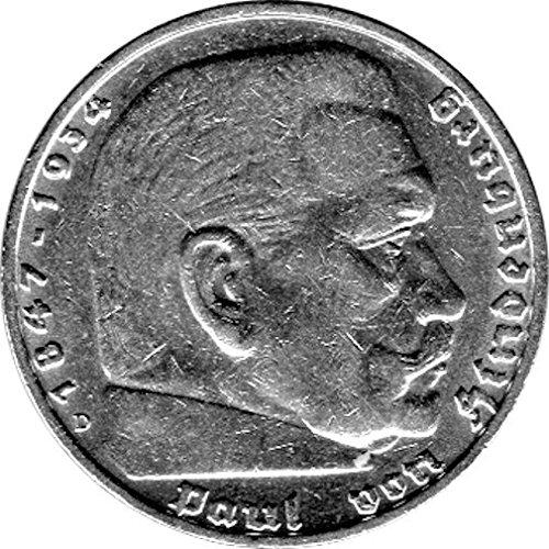 Schniebel Trading 5 Reichsmark Deutschland, 1936 D, Hindenburg (Jäger: 367) Vorzüglich