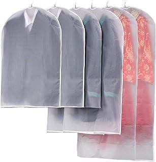 6pcs Clothes Covers, Clear Garment Bag Hanging Clothes Dust-proof Cover for Suit, Coat, Dress Closet Clothes Storage, Bott...
