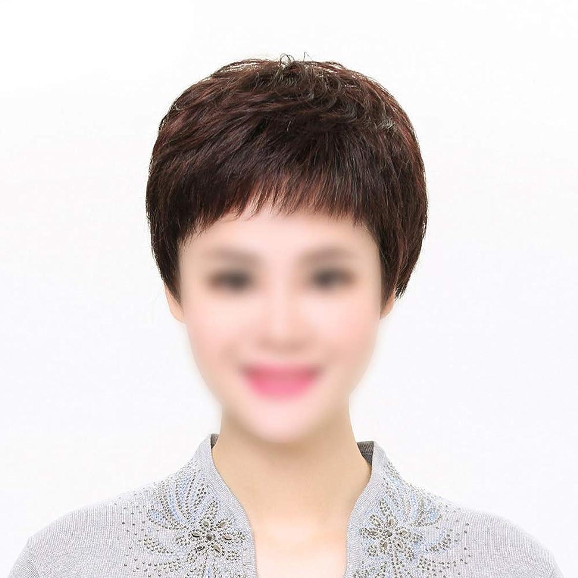 パッド描くパプアニューギニアHOHYLLYA 100%本物の人間の髪の毛の自由な部分短い前髪付きかつら人間の髪の毛のかつら女性のファッションのかつら (色 : Dark brown, Edition : Mechanism)