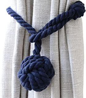 JQWUPUP Hand Knitting Curtain Tiebacks Rope for Draperies Outdoor - Decorative Window Treaments Holdbacks, Holdbacks Holders for Sheer Curtain and Blackout Curtain(Set of 2, Navy Blue)
