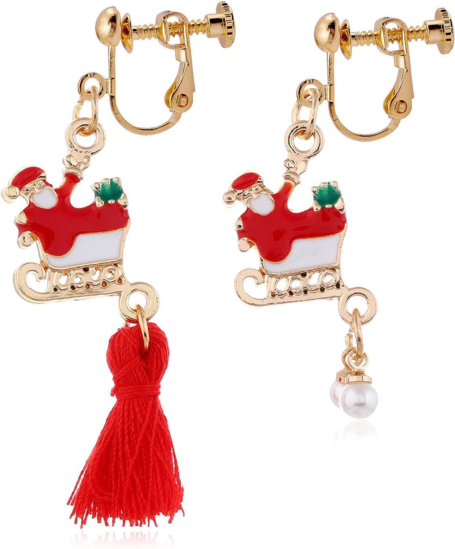Christmas Santa Claus Tassel Dangle Earrings Pearl Drop Clip on Earrings Non Pierced Fashion Jewelry for Women Teen Girls