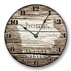 IOWA STATE HOMELAND CLOCK - HAWKEYE STATE - Large 10.5 Wall Clock - Printed Wood Image- IA_FT