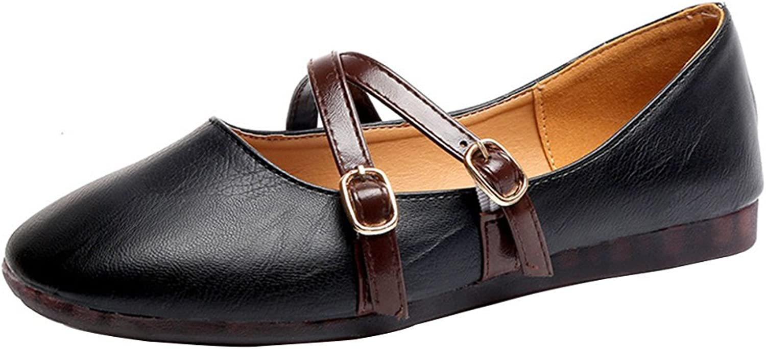 Kyle Walsh Pa Women's Square Toe Loafers Flat Ballet shoes Black