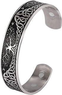 YGGDRASIL World Tree of Life Bracelet Health Care Stainless Steel Cuff Bangle Bracelet for Men (New shiny black)