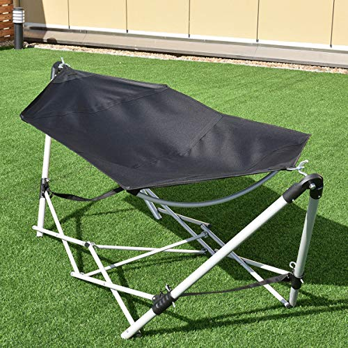 """Giantex Portable Hammock with Stand-Folds, Lounge Camping Bed Folding with Carry Bag for Camping Outdoor Patio Yard Beach, 94.5"""" x 31.5"""" x 29""""(Black)"""